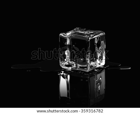 Ice cubes on black background. 3D render - stock photo