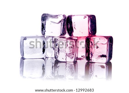 Ice cubes on reflective background - stock photo