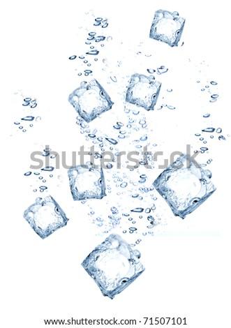 Ice cubes splashing - stock photo