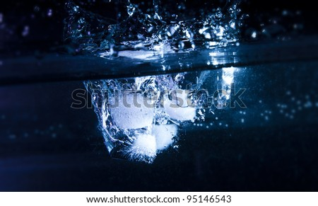 Ice Cubes Water Splash - stock photo