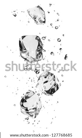 Ice cubes with bubbles, isolated on white background