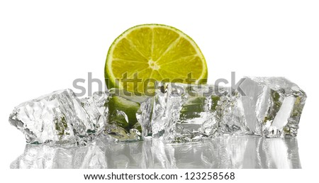 Ice cubes with lime isolated on white