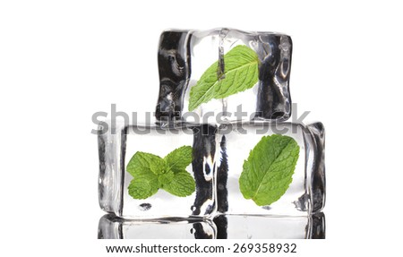 Ice cubes with mint, isolated on white - stock photo