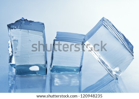 Ice cubes with reflection