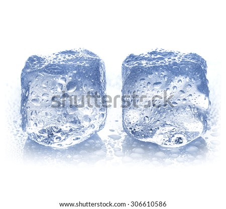 ice cubes with water drops close-up isolated on a white background - stock photo