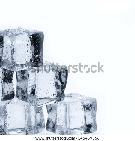 Ice cubes with water drops isolated on white  - stock photo