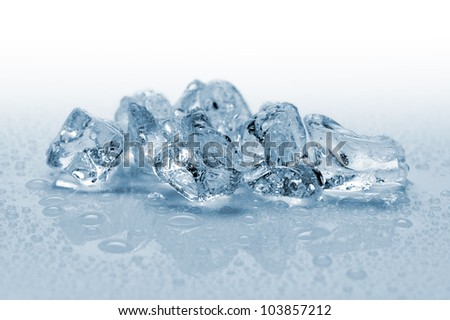 ice cubes with water drops, on white background