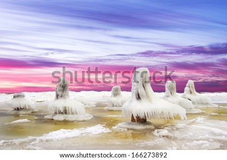 Ice desert.Baltic Sea coast in winter.Lithuania