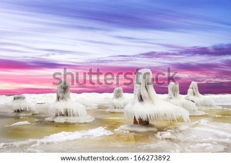 Ice desert.Baltic Sea coast in winter.Lithuania - stock photo
