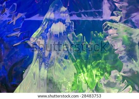 Ice figures covered by color light