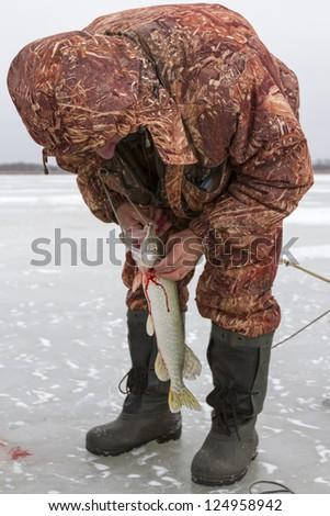 Ice Fishing. - stock photo