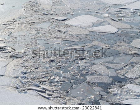 ice floes on a river - stock photo