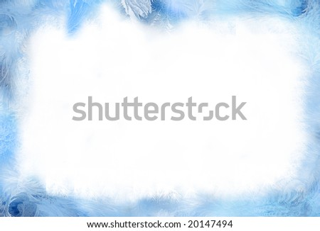 Ice-flower frosting on a border - stock photo