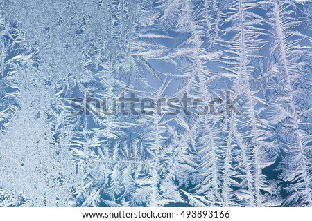 Ice flowers frozen window background. macro view photography frost textured pattern. cold winter weather xmas concept. shallow depth of field