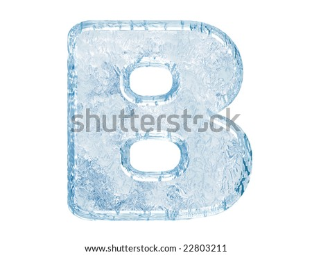 Ice font. Letter B.Upper case.With clipping path. - stock photo