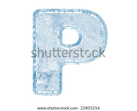 Ice font. Letter P.Upper case.With clipping path. - stock photo