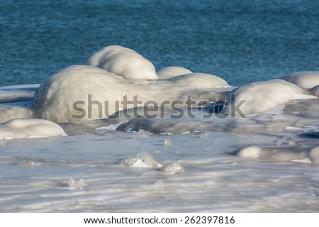 Ice formations in Lake Michigan created by waves of water freezing in midair