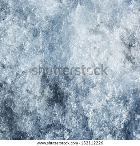 Ice frozen background. Cold blue tint - stock photo