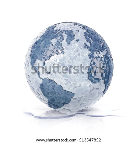 ice globe 3D illustration north and south america map on white background