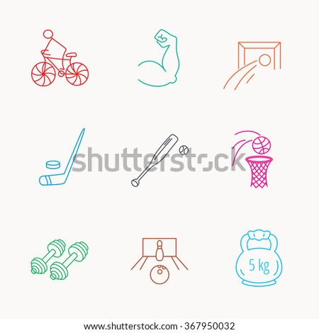 Ice hockey, football and basketball icons. Fitness sport, baseball and bowling linear signs. Biking, weightlifting icons. Linear colored icons. - stock photo