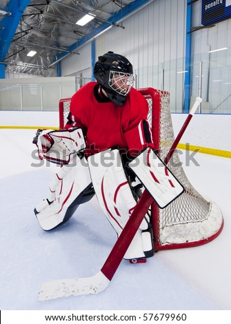 Ice hockey goalie. Picture taken on ice rink.