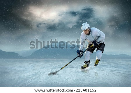 Ice hockey player on the ice. USA national team. - stock photo