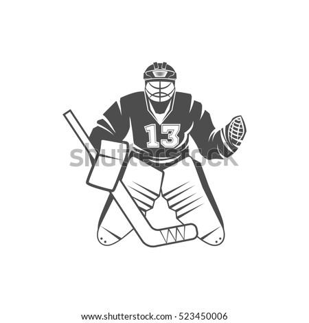 Ice Hockey player. Winter sports. Retro logo design. Old school sport logotype. Monochrome badges.