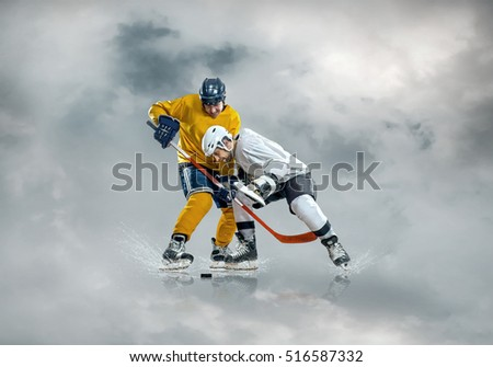 Ice hockey players in action on the ice outdoor under sky.