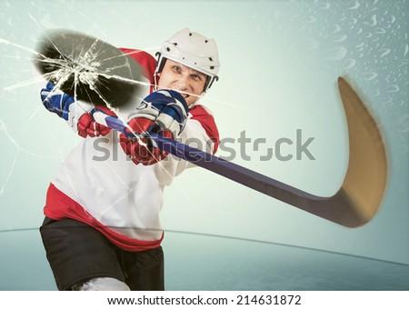 Ice hockey puck hit the opponent visor - stock photo