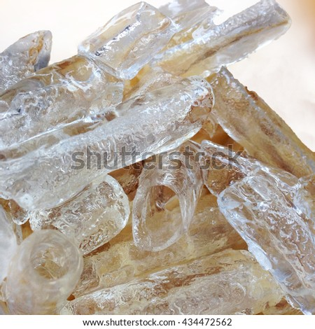 Ice.ice tube.Ice for coffee to be abundant cool thirst quencher.The threat of ice.cryotherapy - stock photo