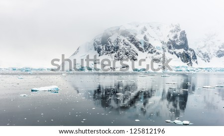 Ice landscape of Neko Harbour, an inlet on the Antarctic Peninsula on Andvord Bay, situated on the west coast of Graham Land - stock photo