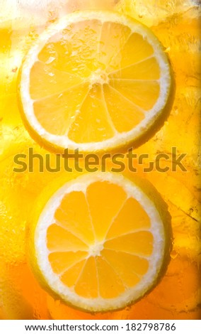 Ice lemon tea close up background - stock photo