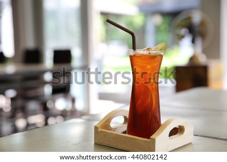Ice lemon tea , cold drink in close up - stock photo