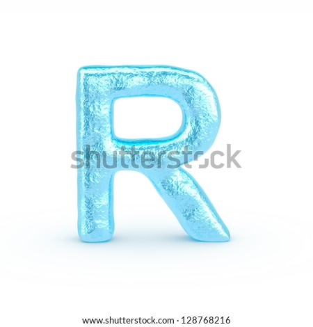 Ice Letter isolated on white background - stock photo