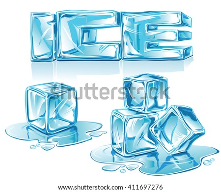 Ice-letters and ice-cubes on white background  - illustration