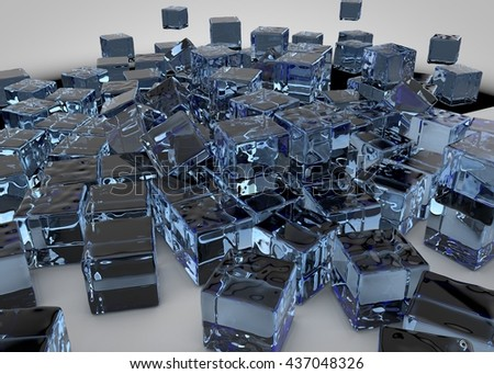 Ice light blue cubes on the floor abstract background. Ice 3d illustration