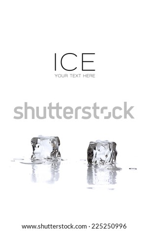 Ice. Melting ice cubes on a white background with sample text - stock photo
