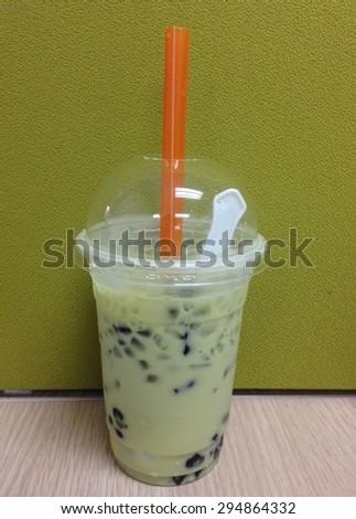 Ice milk green tea - stock photo