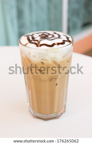 Ice mocca coffee with foam milk.