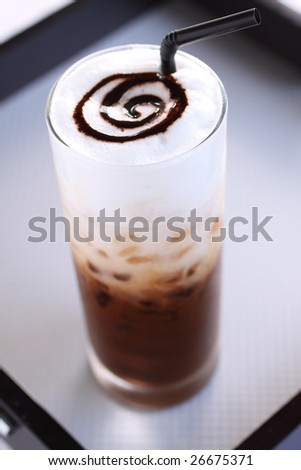 ice mocca coffee with foam milk. - stock photo