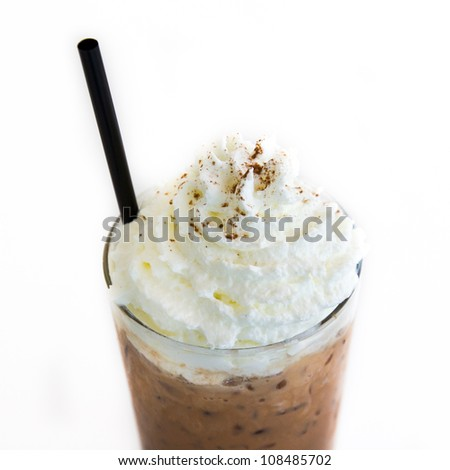 Ice Mocca with whip cream isolated on white background - stock photo