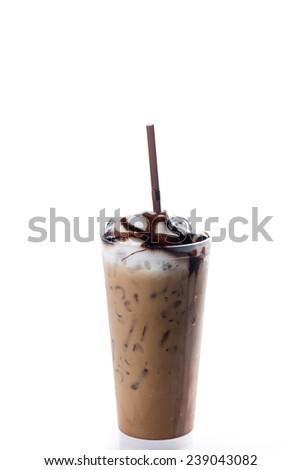 Ice mocha coffee in plastic cup - stock photo