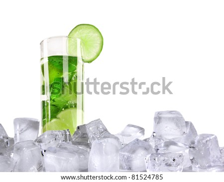 Ice mojito isolated on white background - stock photo