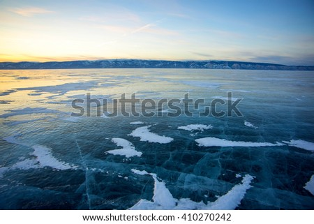 Ice of lake Baikal, Olkhon, Russia - stock photo