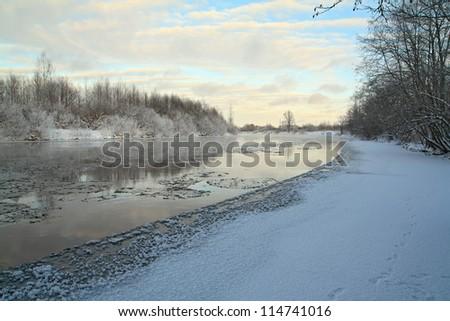 ice on river - stock photo
