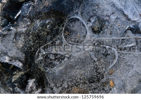 Ice patterns and lines caused by high winds on the surface of a frozen lake