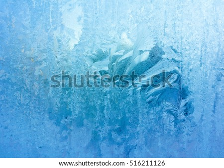 Ice Patterns on Winter Glass , Closeup Frozen Winter Window Pane Coated Shiny Icy Frost Patterns, Christmas Card, Low Temperature, Natural Ice Pattern on a Frosty Glass, Cool Winter Abstract Ice Glass