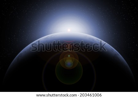 ICE PLANET in universe - stock photo