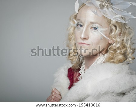 "Ice queen - beautiful woman in ""winter"" professional makeup."