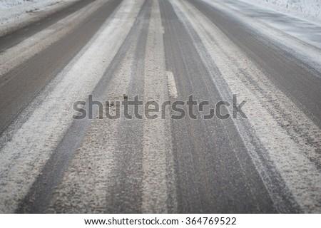 Ice road - stock photo